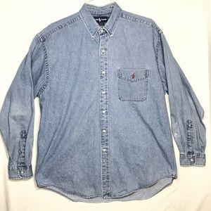 Vintage Ralph Lauren Big Shirt Mens Large Denim
